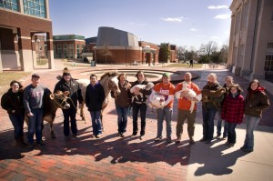 From 2013 National Agriculture Week: Students and Faculty gather together for a picture with the animals promoting agriculture on the Truman State University campus.