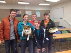 Andrew Greenwell, Cheyenne Dunham, Mary Perry, Bobbi Mathews and Austin Bausenhaus won Ag Trivia on Thursday, March 27. The team took home a triple berry cheesecake, made by Marsha Redmon, to share.