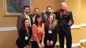Representatives from the Beta Iota Chapter of Alpha Gamma Rho and the Omicron Chapter of Sigma Alpha attended the Kansas City Leadership Seminar on Saturday, February 22. Front Row: Jessica Nichols, Nicki Snodgrass, Hannah Fischer. Back Row: Patrick Bree, Mason Martel, Nathan Helmig , Thomas Hazen
