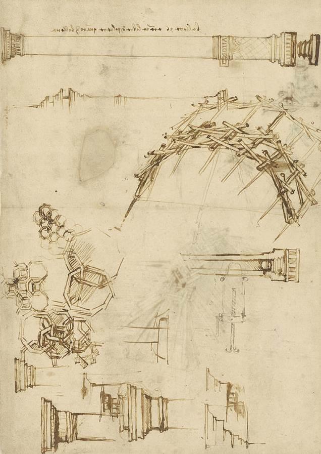 Leonardo da Vinci.  Miscellaneous Designs.  Codex Atlanticus (1478 - 1519), , f. 71v.  Milan:  Biblioteca Ambrosiana.