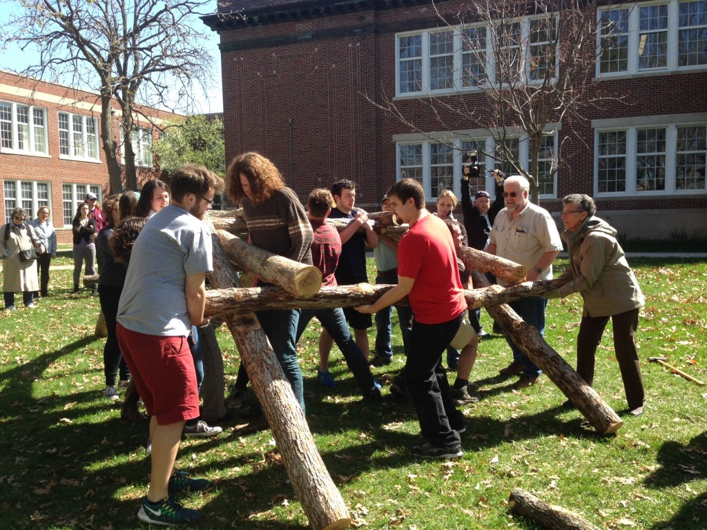 students  assemble the bridge