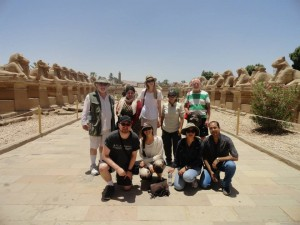Members of the Mendes Expedition at the Avenue of Sphinxes just outside the Karnak Temple Complex. Matt is on the left of the lower row.