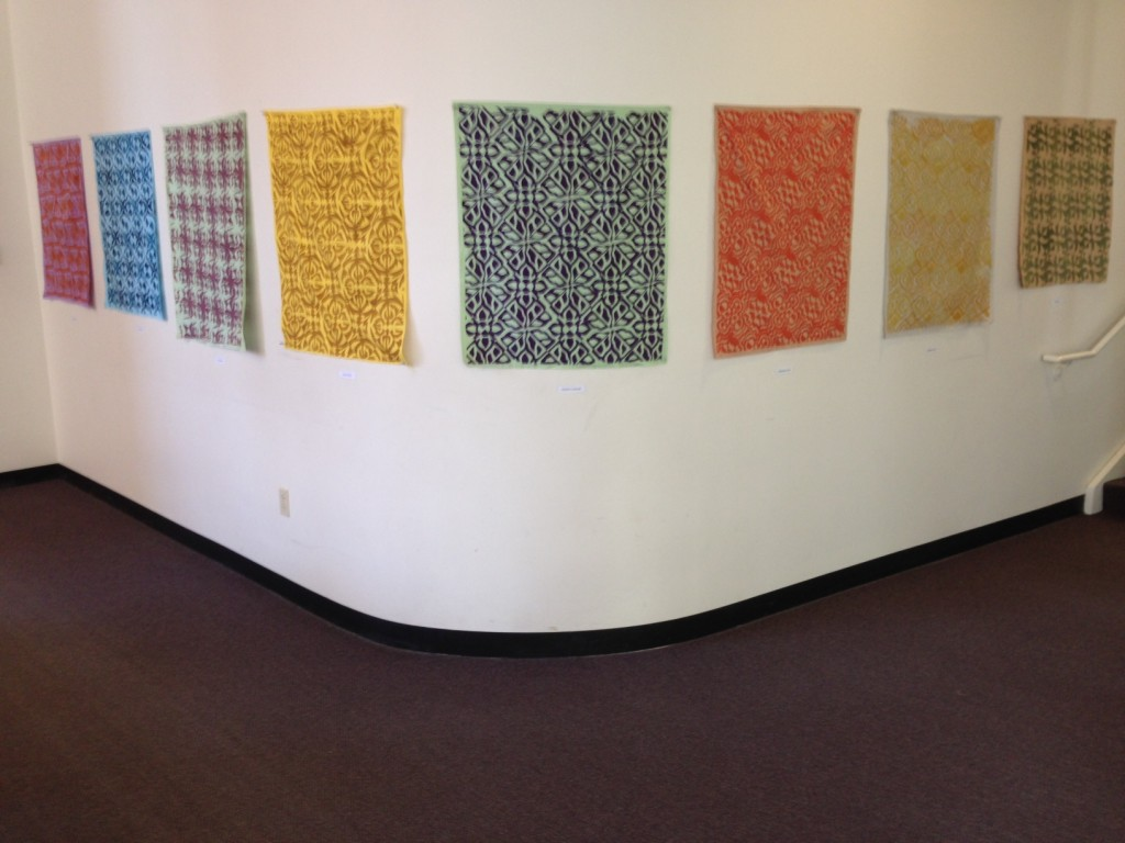 Fibers Students' work on the walls of Ophelia Parrish Hall.