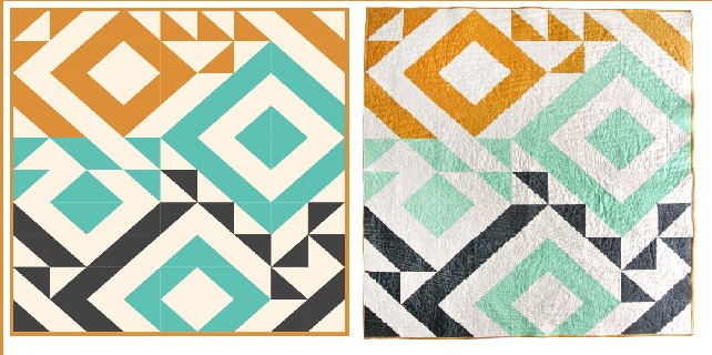 Triangle Jitters, by Suzy Williams: Digital Pattern (left) and Final Quilt (right).