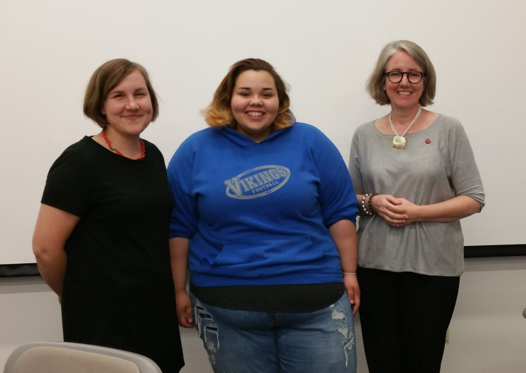 Kirksville High School student Mikaila Battrick  (center) with Professors Heidi Cool (left) and Julia DeLancey (right).