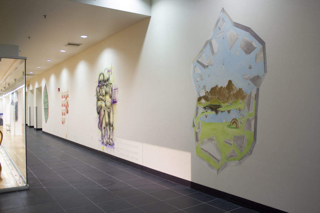 Students making art on walls of OP
