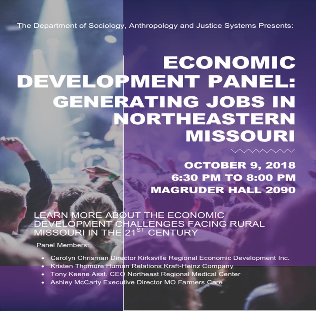 Flyer for Economic Development Panel: Generating Jobs in Northeastern MIssouri