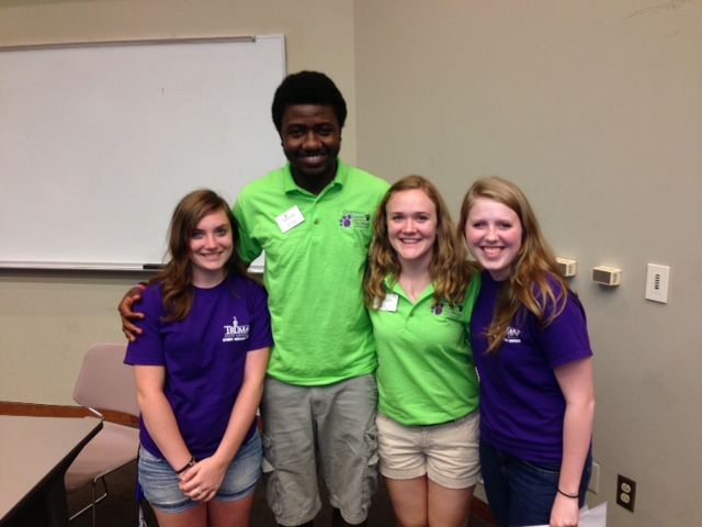 Jojo, Femi, Susanne and Amanda prsenting on Diversity at Truman's Freshman Orientation