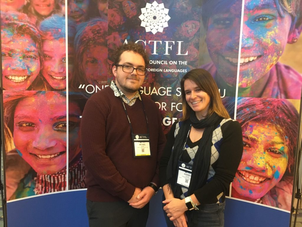 Dr. Viguier and senior French student Michael Moore presented at the ACTFL Convention